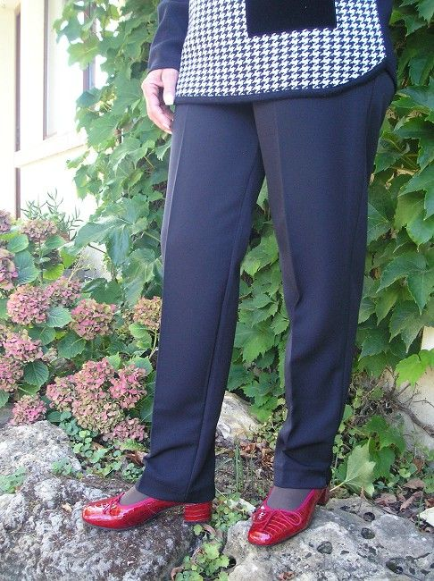 pantalon uni taille élastiquée sénior