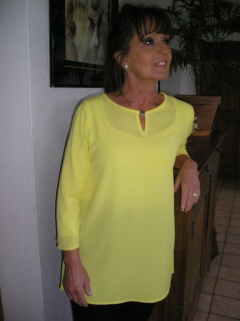 tunique crèpe polyester jaune sénior