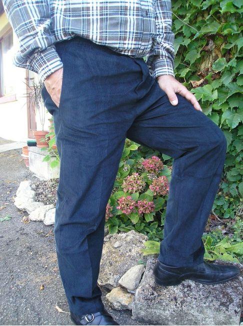pantalon velours ras marine sénior