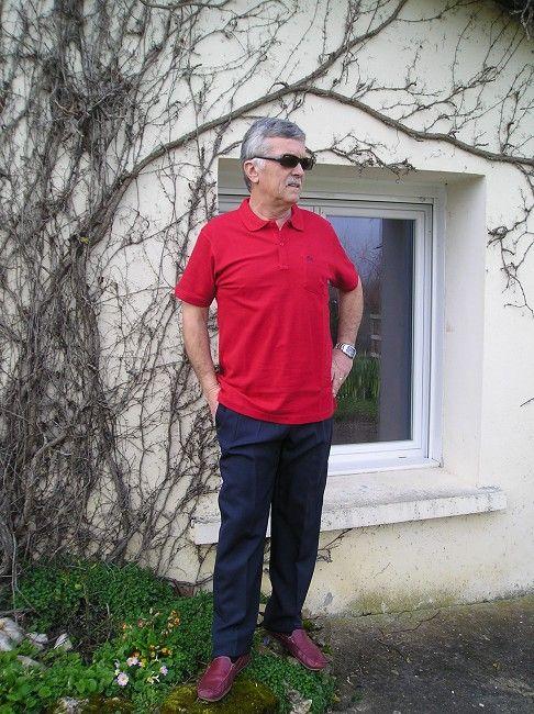 polo 100% coton rouge personne âgée