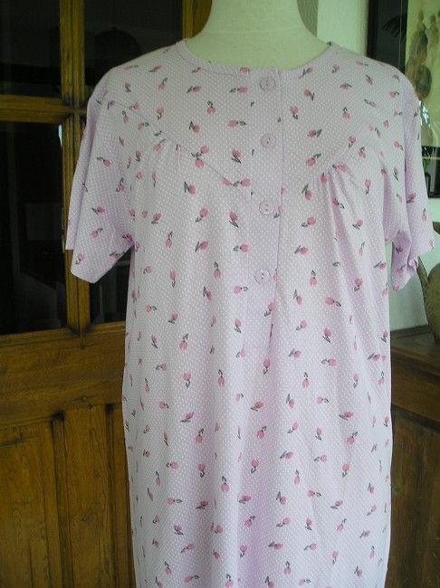 chemise de nuit 100% coton 3ème âge manches courtes